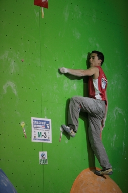 LOG-DRAGOMER, SLOVANIA - APRIL 12 2013:  World Cup Bouldering Championship. (Photo by Jensen Walker)